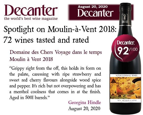 Decanter selection du Voyage dans le Temps Moulin à Vent 2018