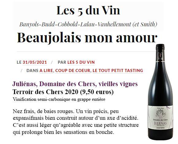 Julienas vieilles vignes 2020 domaine des chers arnaud briday blog le 5 du vin