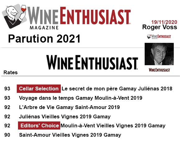 Wine enthusiast 2021 93 92 90 Domaine des Chers Arnaud Briday millesime 2019